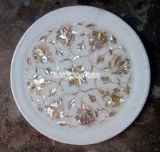 """9"""" White Marble Round Serving Plate Mother of Pearl Inlay Pietradura Decor - $77.56"""