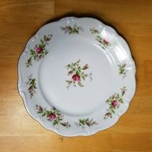 Johann Haviland Moss Rose Dinner Plate White with Pink Roses Bavarian Ba... - $9.89