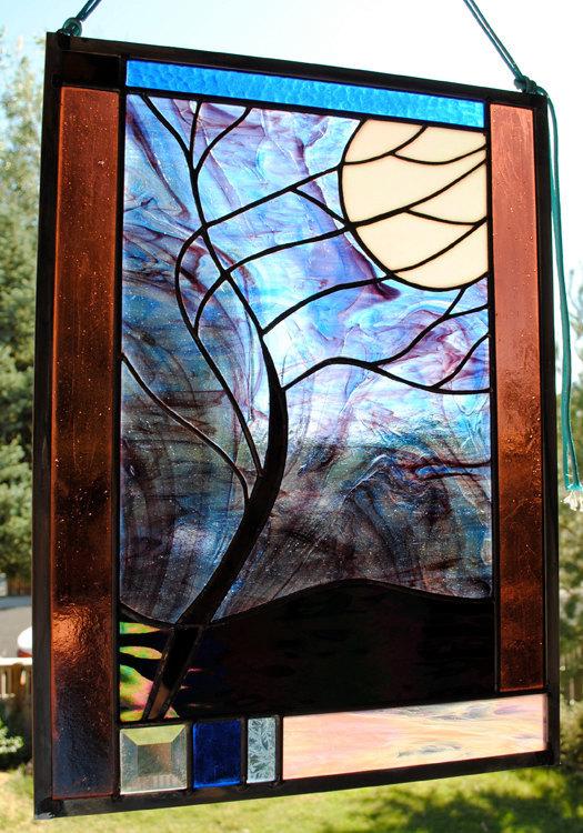 Stained Glass Window Panel Beveled Moonlit Tree stormy night blue purple black
