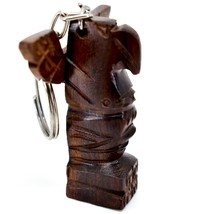 Hand Carved Ironwood Wood Folk Art 3D Eagle Totem Pole Keychain image 2