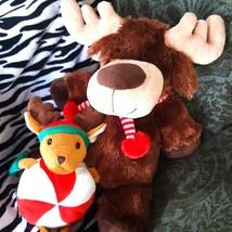 Christmas Peppermint Moose Stuffed animal Plush toy companion Duo - $45.00