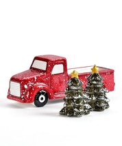 Festive Truck w Tree Design Salt & Pepper Shaker Set Shakers Ceramic image 2