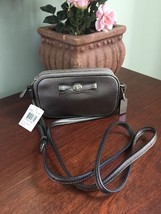 New Coach Turn-lock Bow Crossbody Bag Leather F64655 Gunmetal Gray B01 - £76.50 GBP