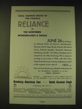1936 Hamburg-American Line Ad - Ideal Summer cruise of the famous Reliance - $14.99