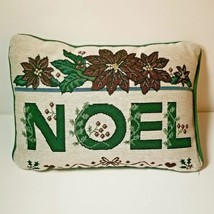 Holiday Tapestry Pillow NOEL Christmas Plush 13x9 Poinsettia Green Red - $11.65
