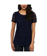 Leo & Nicole Womens Top Size S  Short Sleeved Lace in Admiral NAVY New W... - $10.40