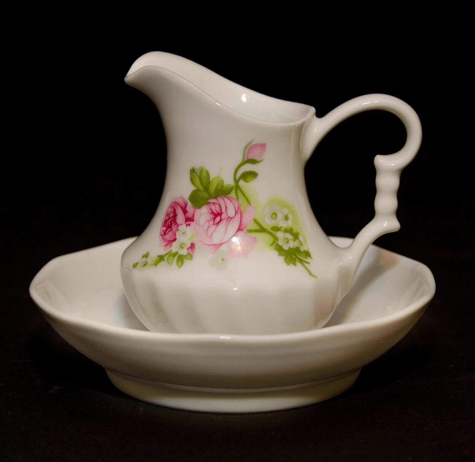 Primary image for Vintage Miniature Small Schwarzenhammer Porzellan Roses Water Pitcher and Dish