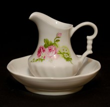 Vintage Miniature Small Schwarzenhammer Porzellan Roses Water Pitcher an... - $17.81