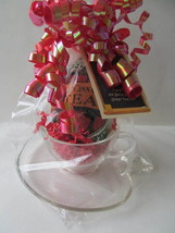 A+ Teacher Appreciation Gift - Hazel Atlas Clear Cup & Saucer, Herbal Te... - $12.97