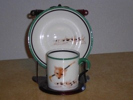 Vintage Paragon FOX HUNT Demi Demitasse Cup and Saucer Set Foxes Hunting Dogs - $74.24