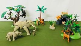 Playmobil Bundle Animals Zoo Wild Life Jungle Elephant Gorilla Tree Tige... - $119.95