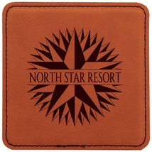 "Personalized 4"" Rawhide Square Leather Coaster ... - $7.60"