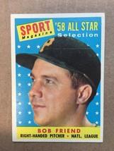 1958 Topps #492 Bob Friend Baseball Card EX+/NM Condition Pittsburgh Pir... - $9.99