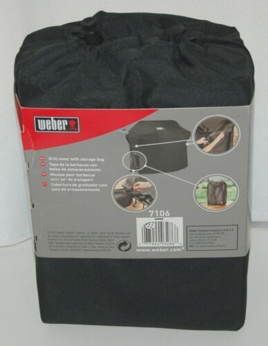 Weber 7106 Polyester Grill Cover with Storage Bag Color Black