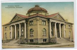 Christian Church Campbellsville Kentucky 1933 hand colored postcard - $6.44