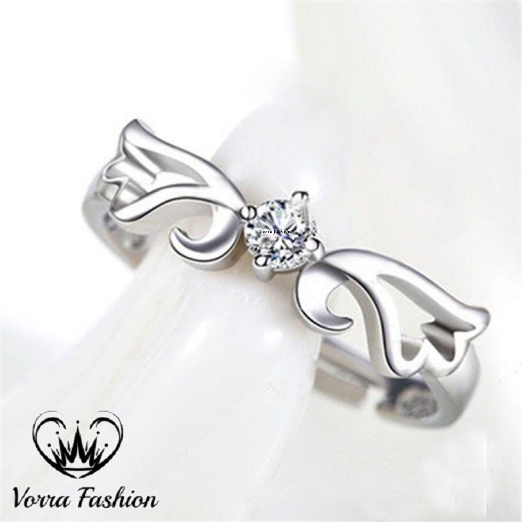 Angel Wings Couples Ring Set 14k White Gold 925 Pure Silver Round Cut Diamond