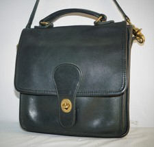 Vintage Coach Navy Blue Leather Flap Crossbody Purse Bag  - £62.67 GBP