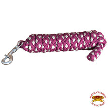 Horse Riding Poly Horse Roping Lead Rope Maroon Gray 1/4X8 Ft Snaps Hilason U-/G - $19.79