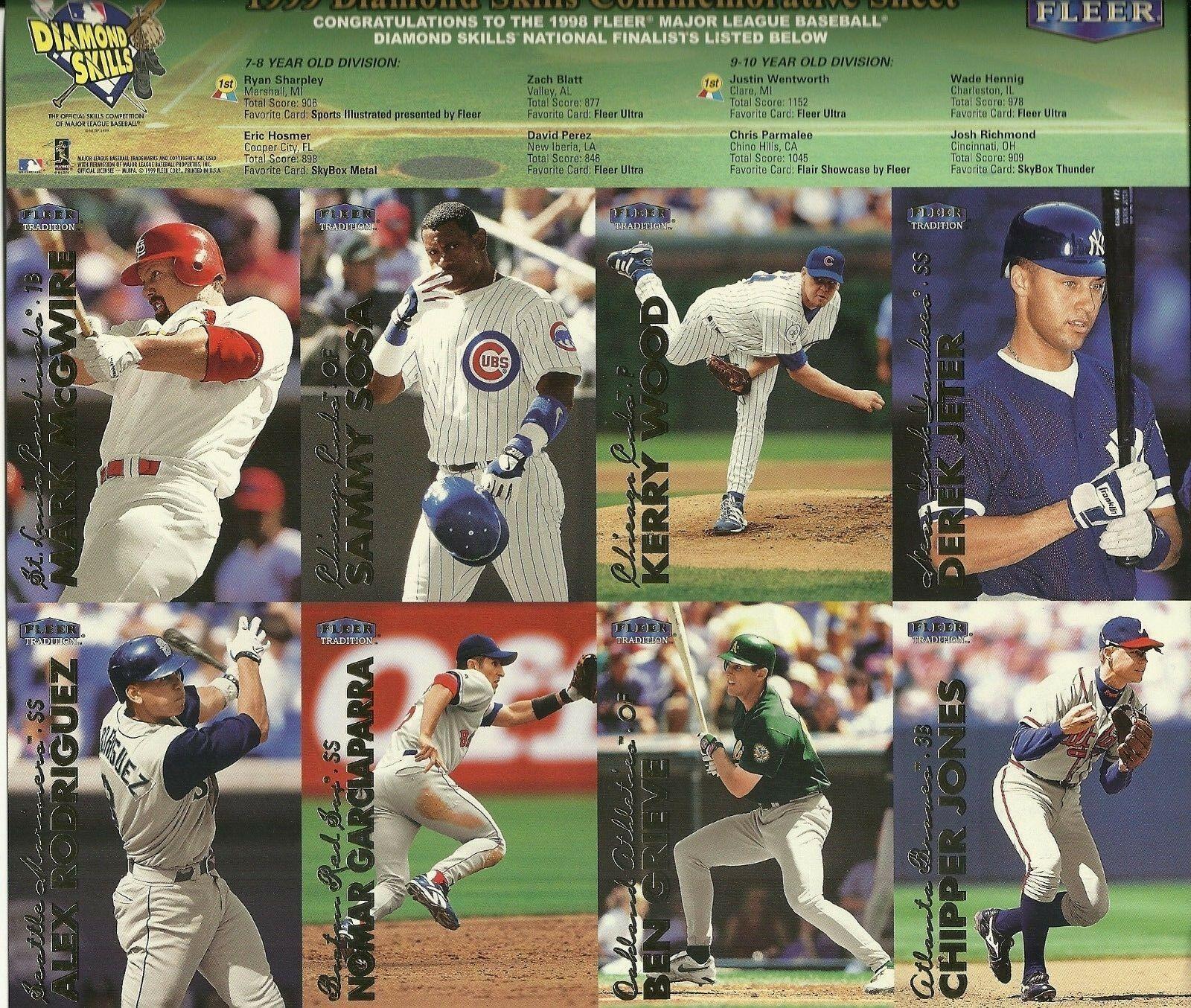 1999 Fleer Tradition Diamond Skills Sheet 8 Players EX