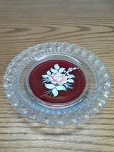 """1976 Westmoreland Glass 5"""" Filigree Ruby Clear Plate Hand Painted ROSE D... - $12.82"""