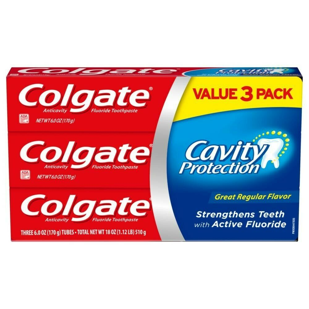 Primary image for 3 Pack Colgate Cavity Protection Toothpaste with Fluoride, Great Regular Flavor