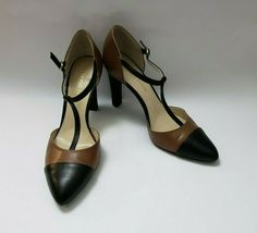 Franco Sarto Shoes Heels Brown Black T-Strap Tanda Womens Size 8.5 M image 5
