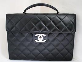 CHANEL Black Caviar Leather Briefcase/Flap Handbag Vintage AUTHENTICATED SH - $2,100.00