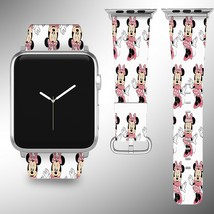 Minnie Mouse Disney Apple Watch Band 38 40 42 44 mm Fabric Leather Strap 02 - $24.97