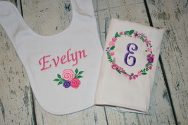 Personalized Baby Girl Bib and Burp Cloth set with flowers - Pinks and Purples - $21.00