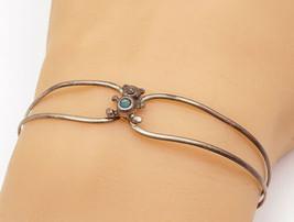 925 Sterling Silver - Vintage Petite Turquoise Teddy Bear Cuff Bracelet ... - $23.38