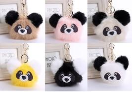 1pcs Cute Furted Pandas Key Chains Pom Pom Key Chains Bag Car Key Chains - $7.50+