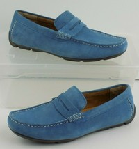 Alfani Mens Driving Mocs Light Blue Suede Penny Loafer Shoes 7.5M Slip On Casual - $29.69