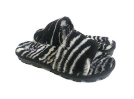 UGG COZETTE ZEBRA BLACK WHITE SHEARLING SLIDE ON SANDALS US 8 / EU 39 / ... - $88.83