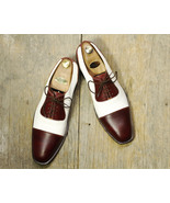 Bespoke Men Brown White Stylish Lace Up Dress Formal Leather Shoes - $159.97+