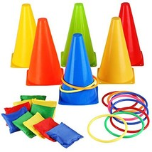 Eocolz 3 in 1 Carnival Games Set, Soft Plastic Cones Bean Bags Ring Toss... - $28.85