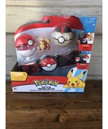 Pokemon Clip N Go Poke Ball Belt Set NEW Red & Black 4 Piece  - $38.56