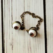 vintage Halloween brown eye eyeball sweater clips sweater guard brooch pin - $49.49