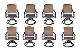 Wicker Swivel Chairs Cast Aluminum Dining Outdoor Patio Furniture Set of 8 image 1
