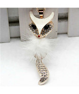 FURRY WHITE FOX CRYSTAL NECKLACE PENDANT ~ FREE SHIPPING/BUY 2 GET 1 FREE - $14.99