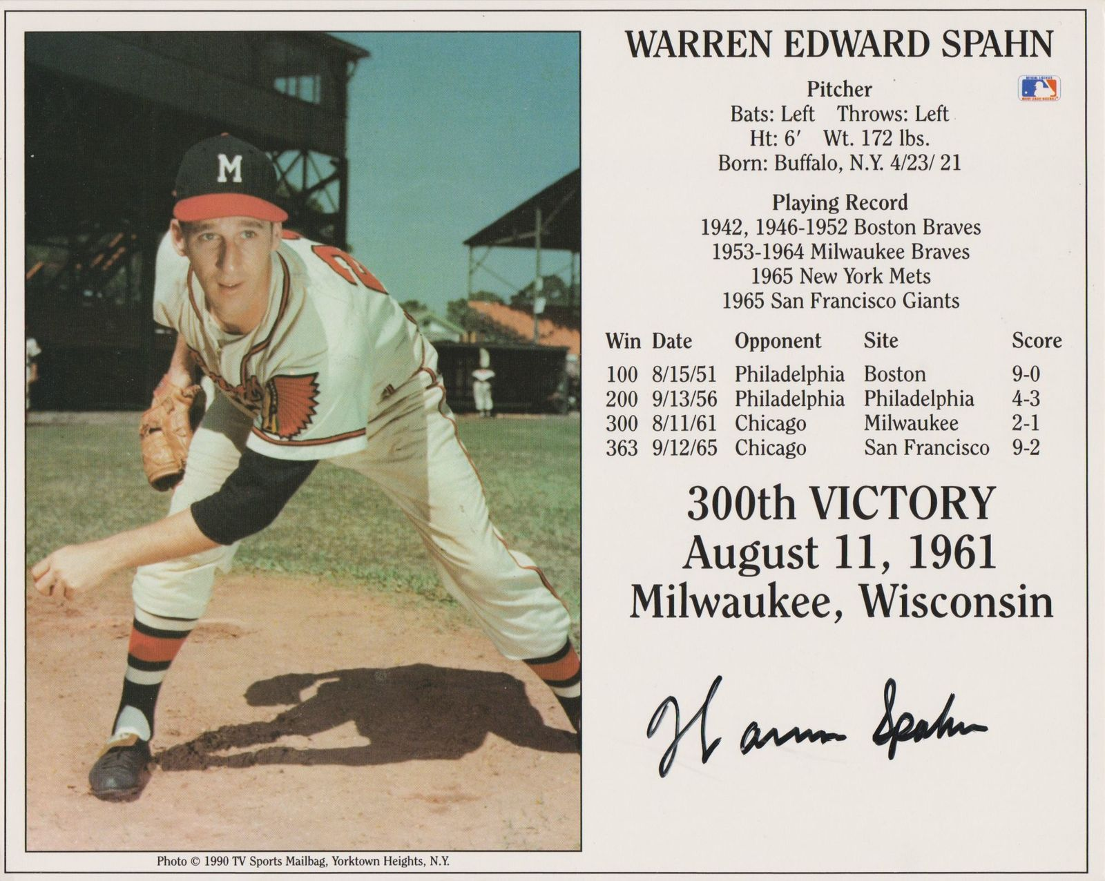 Primary image for Warren Spahn (d. 2003) Signed Autographed Color HOF 8x10 Photo - Milwaukee Brave