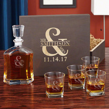 Love & Marriage Whiskey Decanter Set with Wooden Keepsake Box - $159.95