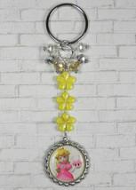 Princess Peach Flower Crystal Beaded Handmade Split Ring Keychain Yellow... - $16.48