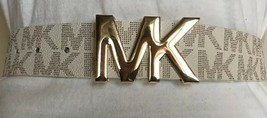 Michael Kors Belt Vanilla with MK Logo gold MK Buckle - $37.99