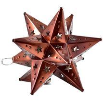 """Small 6.5"""" Hanging Tin Antiqued Brown Mexican Moravian Star Ornament Decoration image 4"""