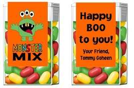 Halloween Monster Mix Mint Mints Party Favors Labels Personalized Custom - $3.96+