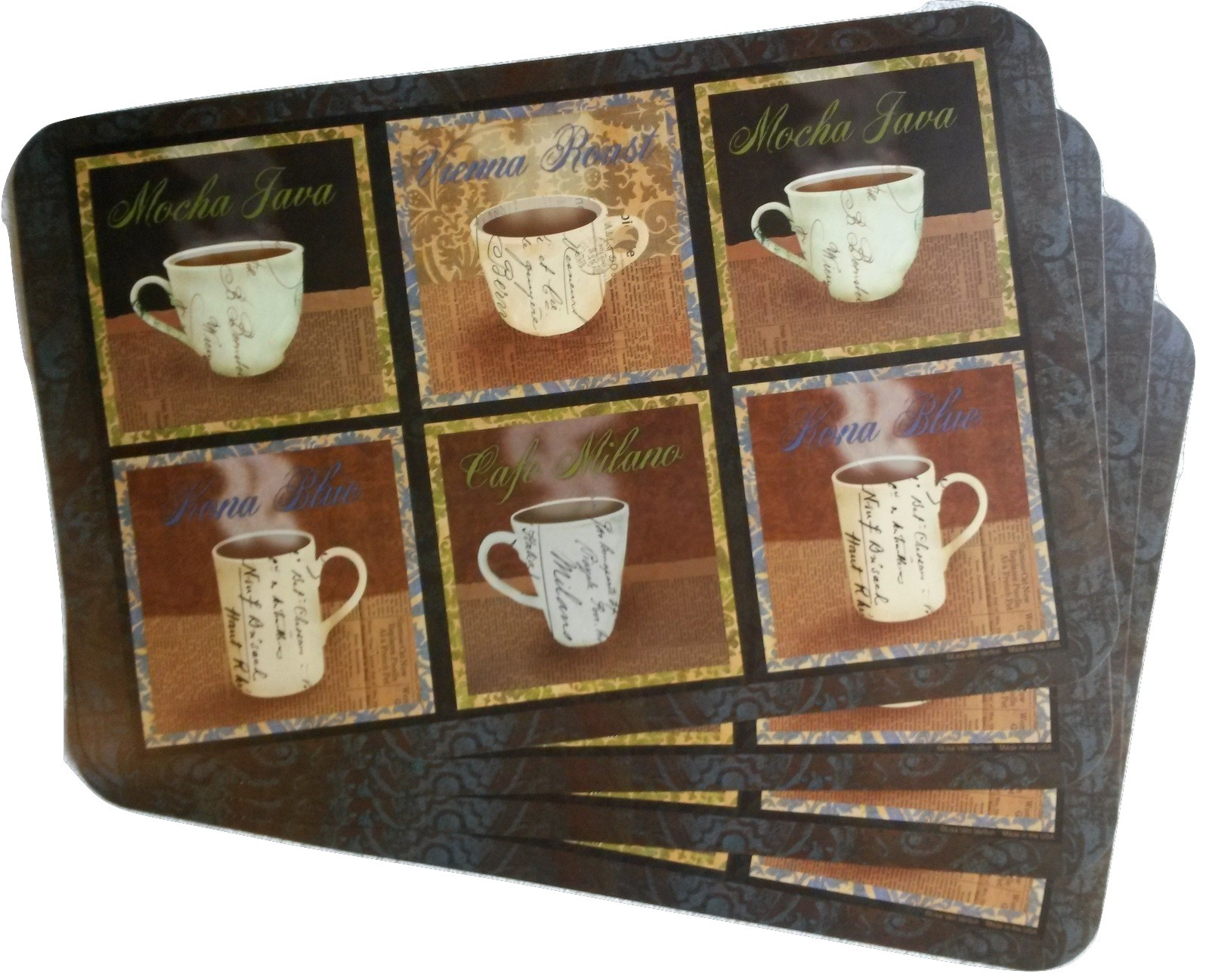 COFFEES Design PLACEMATS Set of 4 Plastic Brown Coffee Mocha Java Cafe NEW