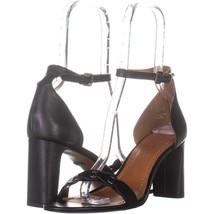 Coach Heel Sandal Ankle Strap Sandals 923, Black Leather, 9.5 US - $69.11