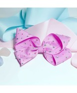 Pink Sparkly Clip In Hair Bow. Princess Crystals And Pearls. Bling Shine... - $5.52