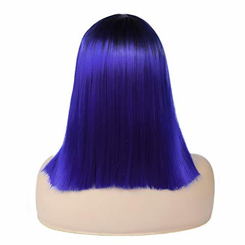 Quick Wig Ombre Wigs Short Straight Synthetic Wigs Middle Part Dark Roots Heat R image 5