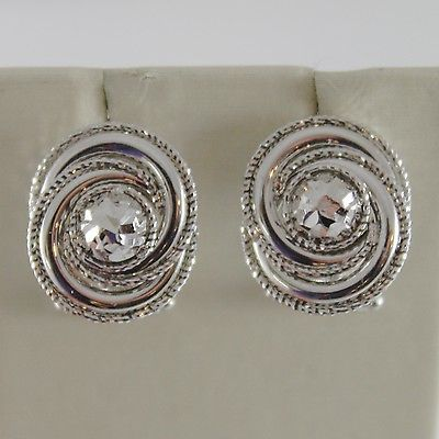 SOLID 18K WHITE GOLD FLOWER OVAL EARRINGS FINELY WORKED, TWISTED, MADE IN ITALY